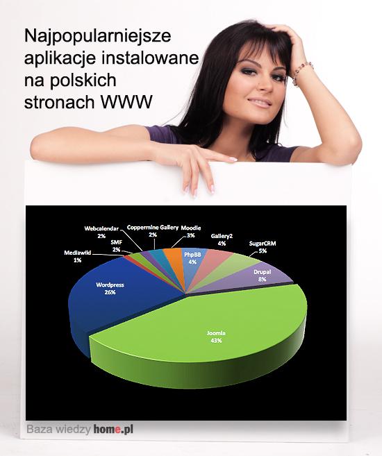 Najpopularniejsze aplikacje instalowane na polskich stronach WWW